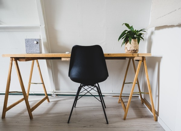 Minimalist desk with plant